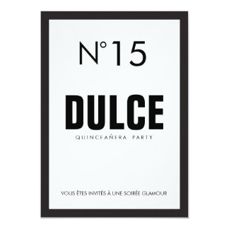 Black & White QUINCEAÑERA 15 Birthday Party Card