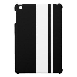 Black & White Race Car Stripes iPad Mini Case