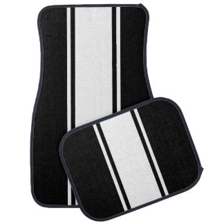 Black & White Racer Stripe Car Mats