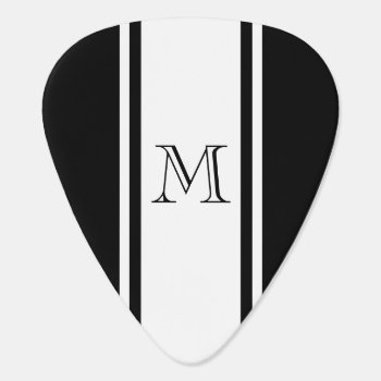 Black & White Racer Stripe Monogram Guitar Pick by EnduringMoments at Zazzle