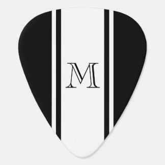 Black & White Racer Stripe Monogram Guitar Pick Guitar Pick