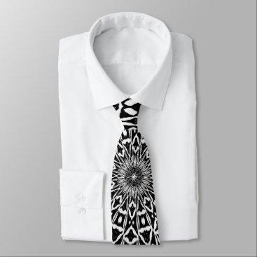 Aztec Themed Black & White Radial Neck Tie