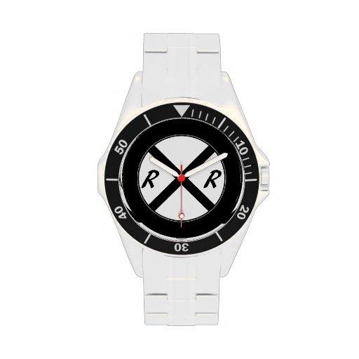 Black & White Railroad Sign Wrist Watch