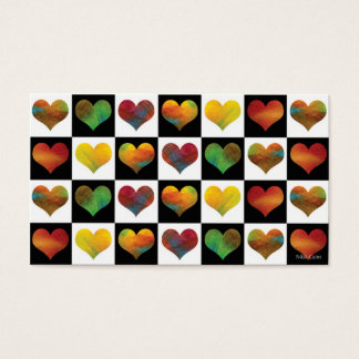 Black & White Rainbow Hearts Business Card