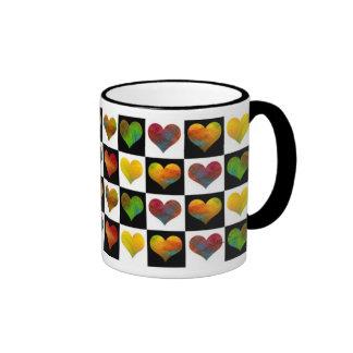 Black & White Rainbow Hearts Mug