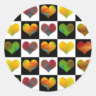 Black & White Rainbow Hearts Sticker