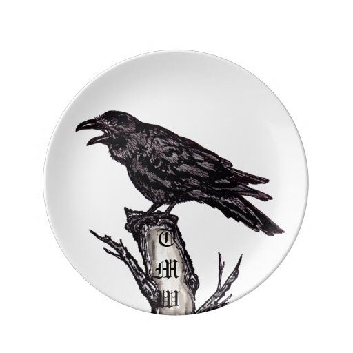 "Black & White Raven/Crow 8.5"" Porcelain Plate"