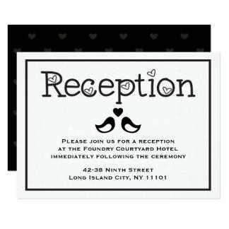 Black  & White Reception Lovebirds Hearts Wedding Card