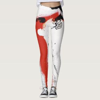 """Black, White & Red Abstract Leggings - """"Oh Soho"""""""