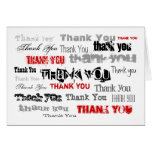 Black White Red And Gray Thank You Card
