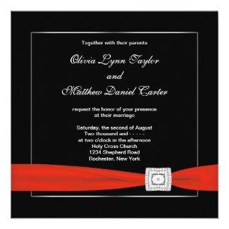 Black White Red Black Wedding Personalized Invites