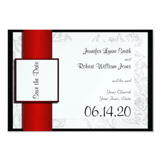 Black White Red Bohemian Wedding Save the Date Card