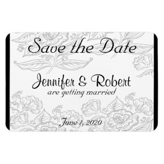 Black White Red Bohemian Wedding Save the Date Magnet