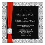 "Black White Red Bow Wedding 5.25"" Square Invitation Card"