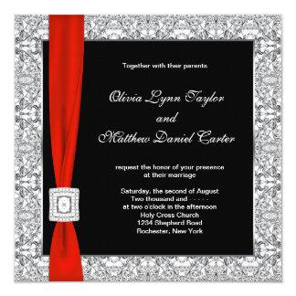 Black White Red Bow Wedding Invitation
