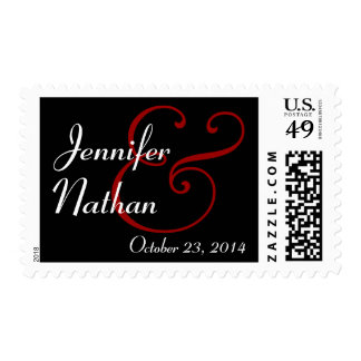 BLACK WHITE RED Bride and Groom Wedding Stamp