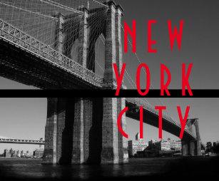 Vintage computer posters zazzle black white red brooklyn bridge new york city poster malvernweather Gallery