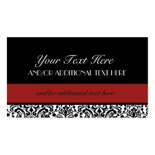 Black white red double sided standard business cards for Red business card template