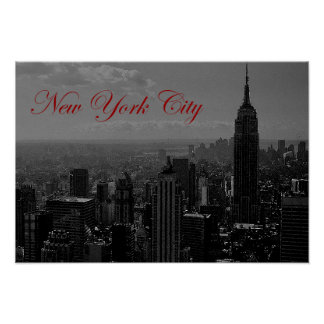 Black White Red Calligraphy New York City Poster