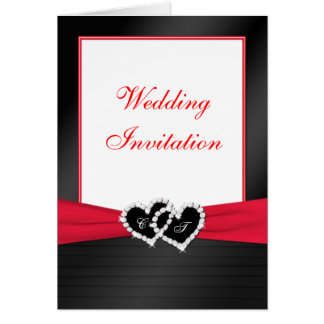 Black, White, Red Card Style Wedding Invitation Greeting Card