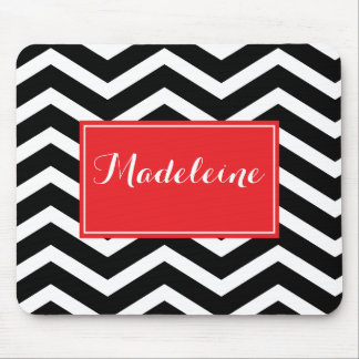 Black white red chevron custom name mouse pad