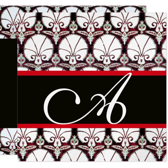 BLACK WHITE RED DAMASK CARNATIONS MONOGRAM Silver Card