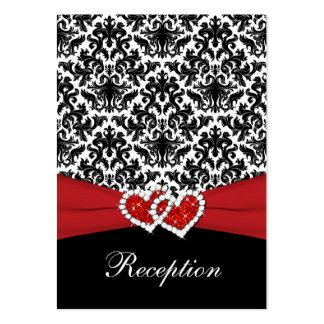 Black White Red Damask, Hearts Enclosure Card Business Card Template