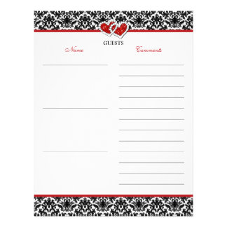 Black White Red Damask, Hearts Guest Book Paper