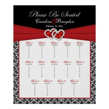 Black White Red Damask Hearts Table Seating Poster