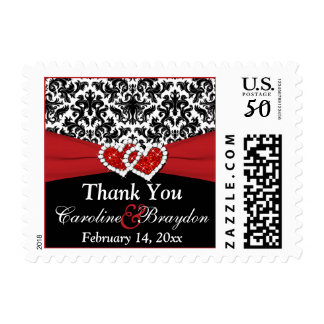 Black White Red Damask, Hearts Thank You Postage