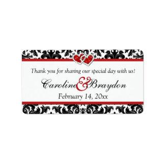 Black White Red Damask, Hearts Wedding Favor Label Address Label