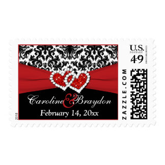 Black White Red Damask, Hearts Wedding Postage