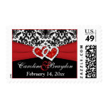 Black White Red Damask, Hearts Wedding Postage