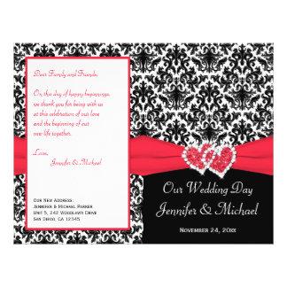 Black White Red Damask Hearts Wedding Program
