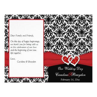 Black White Red Damask, Hearts Wedding Program
