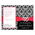 Black White Red Damask Hearts Wedding Program Custom Flyer