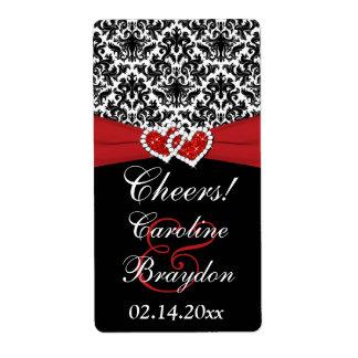 Black White Red Damask Hearts Wine Label