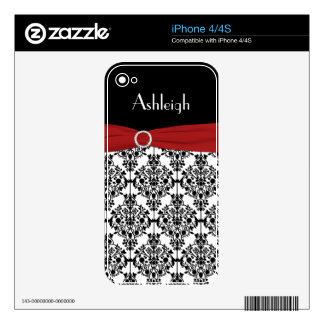 Black White Red Damask iPhone 4/4s Skin iPhone 4S Skins