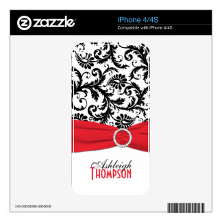 Black White Red Damask iPhone 4/4s Skin Decals For The iPhone 4S