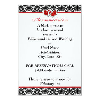 "Black White Red Damask, Joined Hearts Insert Card 3.5"" X 5"" Invitation Card"
