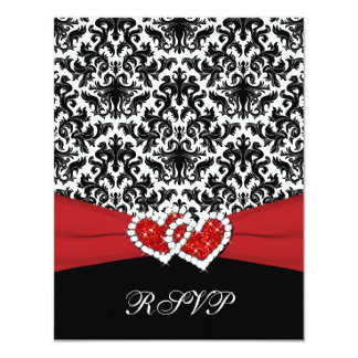 Black White Red Damask, Joined Hearts RSVP Card