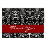 Black White Red Damask Monogram Thank You H204 Greeting Card