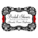 Black/White/Red Damask Round Bridal Shower 5x7 Paper Invitation Card