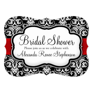 Black/White/Red Damask Round Bridal Shower 5x7 Paper Invitation Card