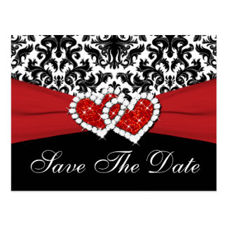 Black, White, Red Damask Save the Date Postcard
