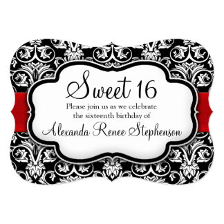 Black/White/Red Damask Shaped Sweet 16 Girls Party Card