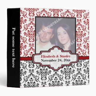 Black white red damask wedding binder binder