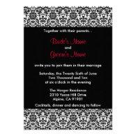 Black/White/Red Damask Wedding Invitation