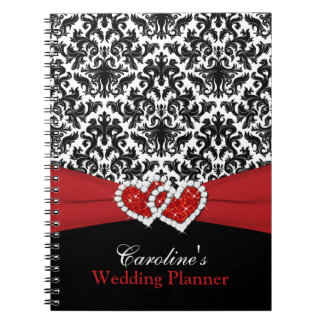 Black White Red Damask Wedding Planner Notebook