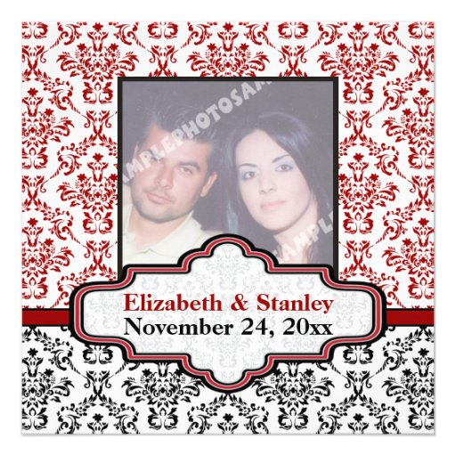Black white red damask wedding Save the Date Custom Announcements